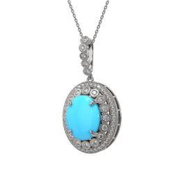 8.97 ctw Turquoise & Diamond Victorian Necklace 14K White Gold
