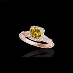 1.36 ctw Certified SI/I Fancy Intense Yellow Diamond Ring 10K Rose Gold