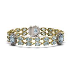 33.79 ctw Sky Topaz & Diamond Bracelet 14K Yellow Gold