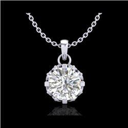 0.85 ctw VS/SI Diamond Solitaire Art Deco Stud Necklace 18K White Gold