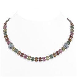 42.06 ctw Sapphire & Diamond Necklace 14K White Gold