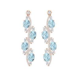 15.72 ctw Sky Topaz & VS Diamond Earrings 18K Rose Gold