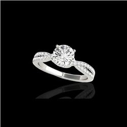 1.3 ctw Certified Diamond Solitaire Ring 10K White Gold