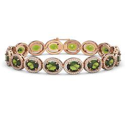 23.6 ctw Tourmaline & Diamond Micro Pave Halo Bracelet 10K Rose Gold