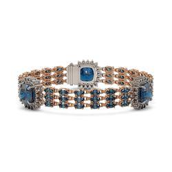 38.62 ctw London Topaz & Diamond Bracelet 14K Rose Gold