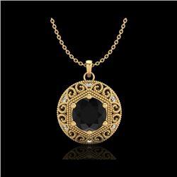 1.11 ctw Fancy Black Diamond Art Deco Stud Necklace 18K Yellow Gold