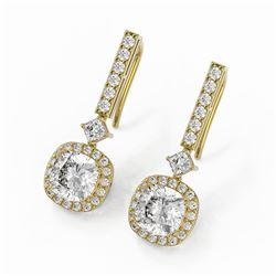 4.25 ctw Cushion Cut Diamond Designer Earrings 18K Yellow Gold