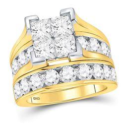 14kt Yellow Gold Princess Diamond Bridal Wedding Engagement Ring Band Set 5.00 Cttw
