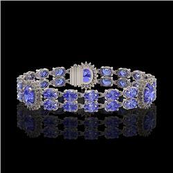 17.83 ctw Tanzanite & Diamond Bracelet 14K White Gold