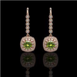 4.5 ctw Tourmaline & Diamond Victorian Earrings 14K Rose Gold