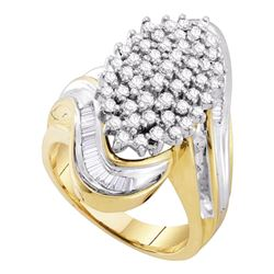 10kt Yellow Gold Round Diamond Wide Cluster Ring 1.00 Cttw
