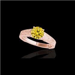 1.5 ctw SI/I Fancy Intense Yellow Diamond Antique Ring 10K Rose Gold
