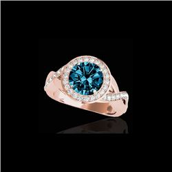 2 ctw SI Certified Fancy Blue Diamond Solitaire Halo Ring 10K Rose Gold