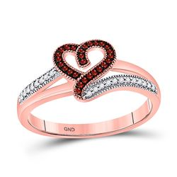 10kt Rose Gold Round Red Color Enhanced Diamond Heart Ring 1/8 Cttw