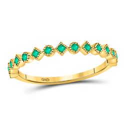 10kt Yellow Gold Round Emerald Square Dot Stackable Band Ring 1/5 Cttw