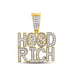10kt Yellow Gold Mens Round Diamond Hood Rich Charm Pendant 1-3/4 Cttw