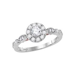 14kt Two-tone Gold Round Diamond Solitaire Bridal Wedding Engagement Ring 3/4 Cttw