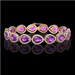 20.3 ctw Amethyst & Diamond Micro Pave Halo Bracelet 10K Rose Gold