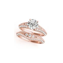 1.76 ctw Certified VS/SI Diamond 2pc Wedding Set Antique 14K Rose Gold