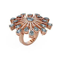 10.14 ctw Blue Topaz & Diamond Ring 18K Rose Gold