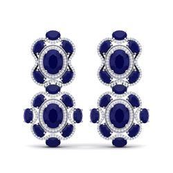33.5 ctw Sapphire & VS Diamond Earrings 18K White Gold