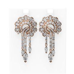 14.23 ctw Diamond Earrings 18K Rose Gold