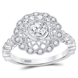 14kt White Gold Round Diamond Solitaire Milgrain Bridal Wedding Engagement Ring 1/2 Cttw
