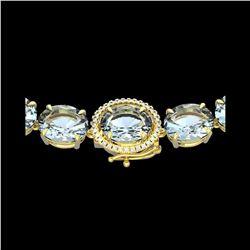 136 ctw Aquamarine & Diamond Micro Eternity Necklace 14K Yellow Gold