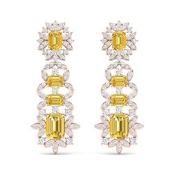 27.75 ctw Canary Citrine & VS Diamond Earrings 18K Rose Gold