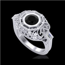 1.13 ctw Fancy Black Diamond Engagement Art Deco Ring 18K White Gold