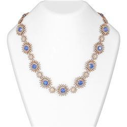 47.43 ctw Tanzanite & Diamond Necklace 18K Rose Gold