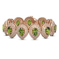57.24 ctw Tourmaline & Diamond Victorian Bracelet 14K Rose Gold