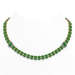 62.38 ctw Jade & Diamond Necklace 14K Yellow Gold