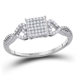 10kt White Gold Round Diamond Square Cluster Ring 1/5 Cttw