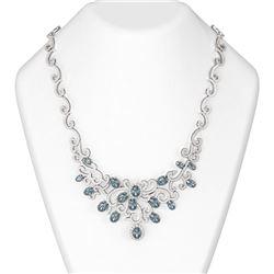 27.24 ctw Blue Topaz & Diamond Necklace 18K White Gold