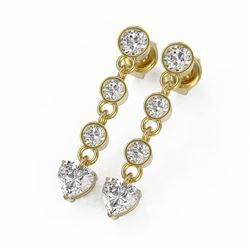 2 ctw Heart Diamond Designer Earrings 18K Yellow Gold
