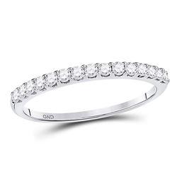14kt White Gold Round Pave-set Diamond Single Row Wedding Band 1/4 Cttw