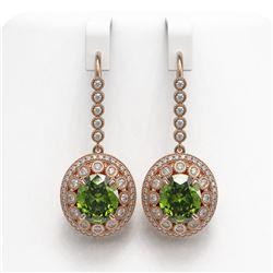 15.02 ctw Tourmaline & Diamond Victorian Earrings 14K Rose Gold