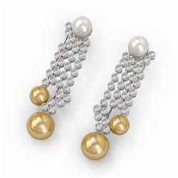 5.76 ctw Diamond Designer Pearl Earrings 18K White Gold