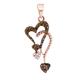 10kt Rose Gold Round Red Color Enhanced Diamond Cluster Heart Droplet Pendant 1/5 Cttw