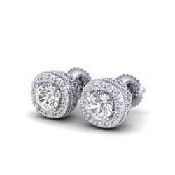 1.69 ctw VS/SI Diamond Solitaire Art Deco Stud Earrings 18K White Gold
