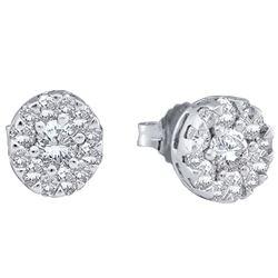 14kt White Gold Round Diamond Flower Cluster Earrings 1/2 Cttw