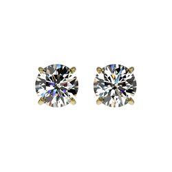 1.02 ctw Certified Quality Diamond Stud Earrings 10K Yellow Gold