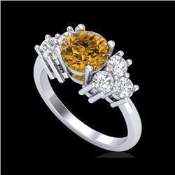 2.1 ctw Intense Fancy Yellow Diamond Ring 18K White Gold