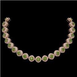 72.27 ctw Tourmaline & Diamond Victorian Necklace 14K Rose Gold