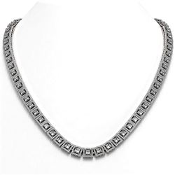 28.67 ctw Princess Cut Diamond Micro Pave Necklace 18K White Gold