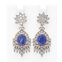 16.02 ctw Tanzanite & Diamond Earrings 18K Rose Gold