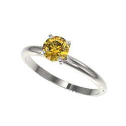 .75 ctw Certified Intense Yellow Diamond Engagement Ring 10K White Gold