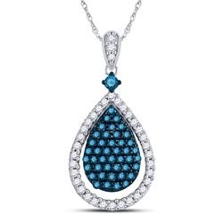 10kt White Gold Round Blue Color Enhanced Diamond Teardrop Pendant 5/8 Cttw