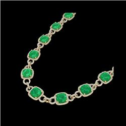 56 ctw Emerald & Micro VS/SI Diamond Eternity Necklace 14K Yellow Gold